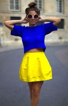 blue top and yellow skirt