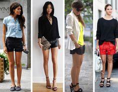 Confira como usar saia de couro, vestido de couro, calça de couro e shorts de couro