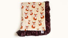 """Rolani's cuddlesome Woodland Fox Blanket - A soft baby blanket handcrafted from premium quality beige, rust and chocolate brown minky velour, featuring a generous 3"""" trim of chocolate brown crepe back satin ruffles and matching, silky smooth, chinchilla faux fur minky lining. Receive instant 30% Off this item when your join our VIP Newsletter @: http://bit/ly/rolani"""