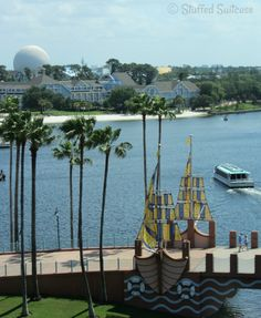 Water Taxi Boat Transportation to Epcot - view from our room at Walt Disney Swan and Dolphin Hotel StuffedSuitcase.com