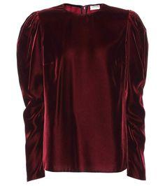 Burgundy long-sleeved velvet top