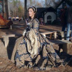 Navy & Gold Tudor Gown dress henrican renaissance girdle belt French hood