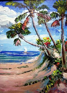 Walk to the Beach by Mazz ~ palette knife painting ~ tropical