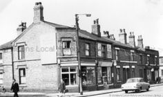 Black and white photograph showing 2 corner shops in Park Road, St.PH - Photographic collections 17 - Photographic collections that were created by individual depositors 3 - Black and white photographs showing various streets in St. St Helens Town, Saint Helens, Family Album, Back In The Day, Driftwood, Britain, Street View, England, Black And White