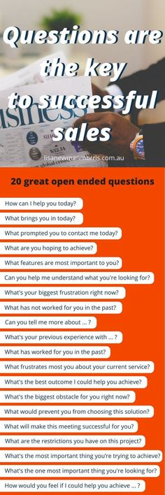 Questions are the key to successful sales - Automotive Job - Ideas of Automotive Job - Sales Questions Business Sales, Business Marketing, Business Entrepreneur, Business Planning, Business Tips, Women In Business, Business Woman Successful, Business Infographics, Successful Women