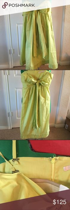 Rebecca Taylor Lime Green Dress Rebecca Taylor Lime Green Dress w/ Bow in Front ✨Does Have Spaghetti Straps, But They Can Be Removed To Make It Strapless ✨ Doesn't have size tag, but looks like a Small Rebecca Taylor Dresses Midi