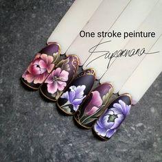 One stroke flower nail art Nails & Co, 3d Nails, Swag Nails, Uñas One Stroke, One Stroke Nails, Nail Ink, Jasmine Nails, Nail Art Wheel, Nail Mania