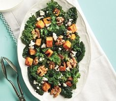 Kale salad with sweet potatoes and walnuts