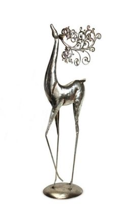 """26"""" Antique-Style Distressed Silver Standing Deer Christmas Table Top Figure #Melrose"""