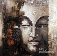 -Oil Wall Art,Wall Canvas Art,Modern Abstract Asian Buddha Canvas Oil Painting:BU#018