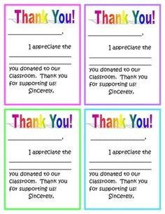 As students start to bring in items from my wish list, I fill out one of these small Thank You notes to send home to let the parents know I got their donation. I keep track of items donated (Listing here:https://www.teacherspayteachers.com/Product/Tracker-for-classroom-donations-and-volunteers-2057773 ) and mark them off when I send a Thank You home.