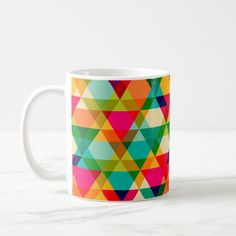 Bold Colorful Bright Geometric Triangle Pattern Coffee Mug Custom Office Party #office #partyplanning