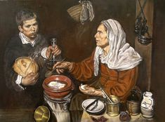 Old woman frying eggs, after Valazquez.  Oil on canvas, by Joe Coyne