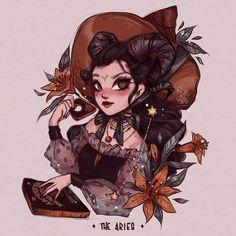 Zodiac Art, Aries Zodiac, Zodiac Signs, Fantasy World, Fantasy Art, Witch Art, Art Sketchbook, Cute Art, Illustration Art