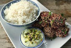 Punajuuri-kvinoapyörykät ja pistaasi-avocadodippi