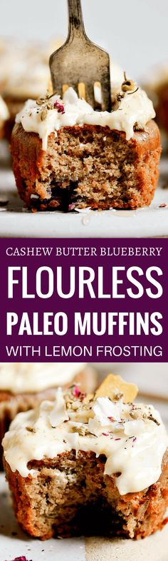 Paleo blueberry muffins. Made with cashew butter and topped with a vegan whipped lemon frosting.