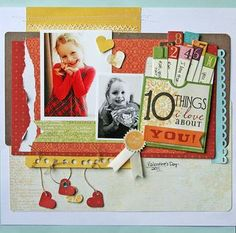 10 things layout by Danielle Flanders (little yellow bicycle) Scrapbook Page Layouts, Scrapbook Cards, Scrapbooking Ideas, Scrapbook Sketches, Little Yellow Bicycle, Hanging Hearts, Studio Calico, Hello Autumn, Layout Inspiration