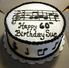 """Musical Birthday Cake (the notes are the beginning of """"Happy Birthday"""") Vanilla cake with lemon curd and lemon buttercream filling Music Birthday Cakes, Music Themed Cakes, My Birthday Cake, Paris Birthday, Birthday Ideas, Happy Birthday, Birthday Parties, Cupcakes, Cupcake Cakes"""