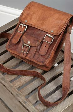 Vertical Rugged Leather Satchel Briefcase  #HighOnLeather #Genuine #Vintage #Handmade #Pure