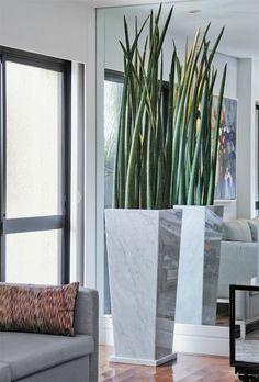 """""""Perto da janela, as plantas recebem a luz natural filtrada pelo vidro e pelas cortinas"""", ensina a paisagista Paula Magaldi, de São Paulo. Por isso, ela optou pela lança-de-são-jorge, que pede água só uma vez por semana. O local aceita outras espécies, como bromélia, samambaia, lírio-da-paz e orquídea. A folhagem longilínea vai bem em vasos estreitos e compridos, formato que está na última moda."""