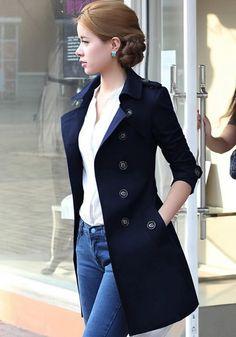 Frauen Oberteile Mantel Jacke Fest Damen Tasche Buttons Anzug Plus Size Navy Trench Coat, Trench Coat Outfit, Trench Coats, Vest Coat, Coat Dress, Mode Outfits, Fashion Outfits, Jackets Fashion, Fashion Women