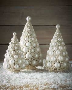 Bethany Lowe 3 Piece Bottle Brush Christmas Tree Set, Ivory and Platinum Color. This beautiful, bottle brush tree set is perfect for your Christmas decor. Get the lowest price on Bethany Lowe Three Ivory Bauble Trees and other fabulous designer cloth Tabletop Christmas Tree, Christmas Tree Crafts, Noel Christmas, White Christmas, Christmas Ornaments, Elegant Christmas, Xmas Tree, Merry Christmas Quotes, Bethany Lowe
