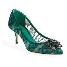 """Dolce&Gabbana Pointy Toe Pump, 2 1/2"""" heel ($895) ❤ liked on Polyvore featuring shoes, pumps, forest green lace, flower print pumps, leather sole shoes, sparkly pumps, floral pumps and pointy-toe pumps"""