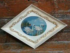 Vintage Petit Point Swans, Framed Swans Picture, Vintage Needlework, 1960s Petit Point by EmptyNestVintage on Etsy