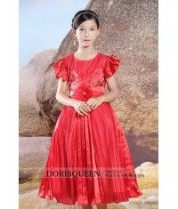 Ruched Inflorescence Beading flower girl dress H015