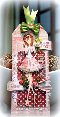 doll Be Mine Prima Paper Dolls, Prima Doll Stamps, Card Tags, Gift Tags, Tag Craft, Handmade Tags, Paper Tags, Doll Crafts, Copics