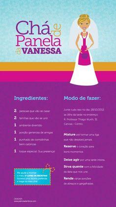 O convite para o chá de panela da Vanessa