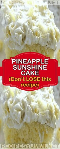 Pineapple Sunshine Cake – Don't LOSE this recipe! Dessert Simple, Cake Mix Recipes, Dessert Recipes, Easter Recipes, 13 Desserts, How Sweet Eats, Yummy Cakes, Cupcake Cakes, Cupcakes