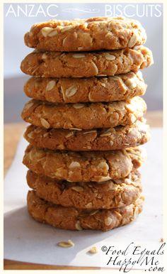 Anzac Biscuits Food Equals Happy Me Eggless Desserts, Eggless Baking, Biscuit Cookies, Biscuit Recipe, Brownie Recipes, Cookie Recipes, Aussie Food, Gluten Free Cookies, Bakken