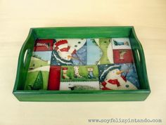 Soy feliz Pintando: Bandeja Patchwork de Navidad Country Christmas, Christmas Time, Christmas Crafts, Tole Painting, Inspiration, Trays, Home Decor, Ideas For Christmas, Papa Noel