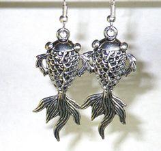Fish earrings. Japanese koi fish jewelry. Fancy by SmilingBlueDog