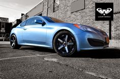 #Staggered wheels setup and #HYUNDAI #GENESIS - well matched! Zeba wheels in black with machined face finish by GWG WHEELS.