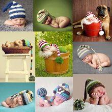 Cartoon lange vlechten pasgeboren baby outfits gehaakte muts baby-cap pasgeboren fotografie rekwisieten ht59(China (Mainland))