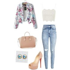 Floral Chic A fashion look from January 2015 featuring Topshop tops, JVL blazers and H&M jeans. Browse and shop related looks.