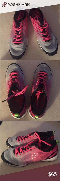 Zumba shoes Pink & Gray Zumba shoes, spin, twist & slide to the music in these dance shoes hardly worn, my loss your gain, size 7 ZUMBA Other
