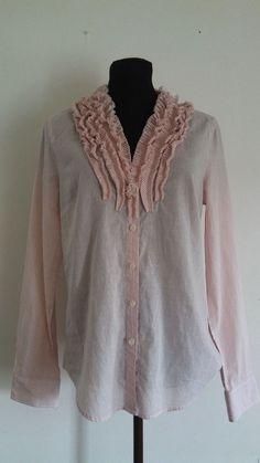 J.Crew Women's Shirt Size M Pink White Ruffled Front Cotton Striped Career #JCrew #ButtonDownShirt #Career