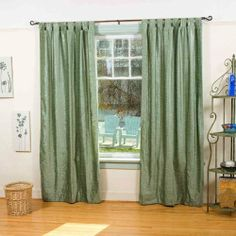 Olive Green - Tab Top Velvet Curtain / Drape / Panel 43 X 84 Inches - Piece by Indian Selections. $51.49. Dimensions (each): 43 inches wide x 84 inches long. Top: 4 Inches Loops. Tiebacks: No. Material: Polyester filament velvet. Hi header: No. Can accommodate curtain rods up to 2.5 inches in diameter Care instructions: Hand wash or dry clean Sold per piece. The price mentioned is for 1 curtain Luxuriously soft to the touch! Rich, full color and smart styling will bri...