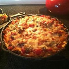 Chicago-Style Pan Pizza - made using frozen bread dough.