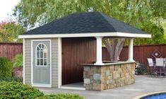 Pool House Shed, Prefab Pool House, Pool House Plans, Up House, House Bar, Backyard Cabana, Pool Cabana, Backyard Bar, Backyard Pools