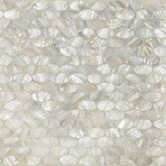 "Artistic Tile.  $40.  White Rivershell Oval Mosaic  11-1/4"" X 11-3/8"" X 1/8"""