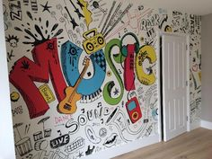 Install this custom-made Music Doodle wallpaper. FREE UK delivery within 2 to 4 working days. Girls Bedroom Wallpaper, Girl Wallpaper, Doodle Wall, Music Doodle, Hallway Displays, Music Wall Art, School Painting, Graffiti Drawing, Music Wallpaper