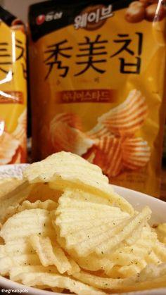 허니머스타드칩, Honey Mustard chips This is also taste like honey butter chip. So delicious! Have you tried? #chips #koreacookie
