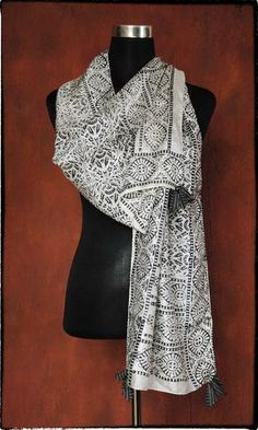 g31 Pure Silk Scarf With Vintage Hand Block Print