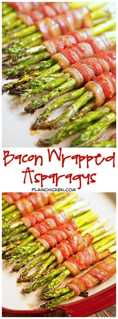 Bacon Wrapped Asparagus Recipe - fresh asparagus wrapped in bacon, topped with a sweet and savory sauce and baked. SO good! Can wrap asparagus in bacon ahead of time and refrigerate. Great for dinner parties and a quick weeknight side dish!!