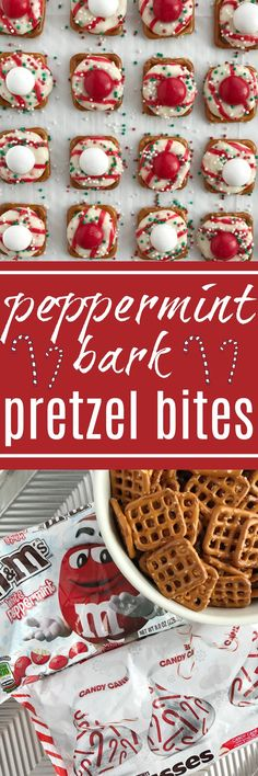 Peppermint Bark Pretzel Bites | white chocolate m&m candy.