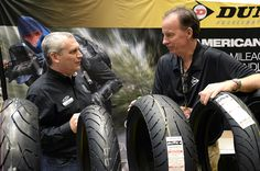 Eric Cagle in deep discussion about the new Dunlop tires.